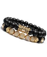 New Luxury Micro Pave CZ Ball Crown Charm Bracelet Men Jewelry Matte Aga... - $19.45