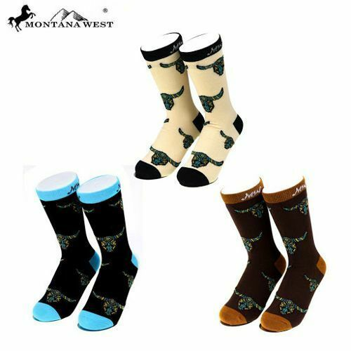Steerhead Socks! Adult NEW! by Montana West  Cream and Brown