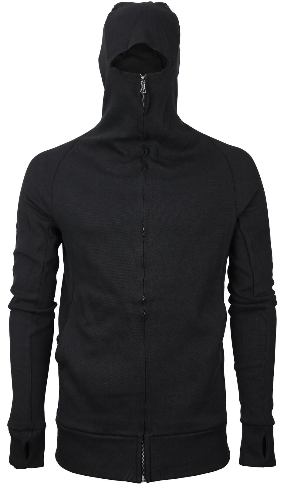 vkwear Men's Zip Up Cotton Slim Fit Thumbholes Ninja Turtleneck Hoodie Jacket