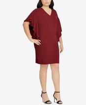 New $155 Ralph Lauren Tiered Flutter-Sleeve Burgundy Short Evening Dress Sz 20 - $91.79