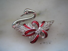 AUTHENTIC SWAROVSKI SILVER TONE SWAN with RED ENAMEL RIBBON PIN or BROOCH - $50.00