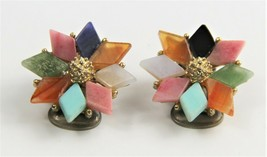 VINTAGE Jewelry SWOBODA SIGNED GEMSTONE FLOWER CLIP EARRINGS TURQUOISE + - $55.00