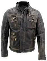 Cafe Racer Antique Retro Biker Multi Pockets Distressed Brown Leather Jacket image 1