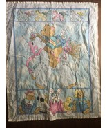 Vintage Teddy Bear Baby Blanket Bear with backpack Riding Pony Bear Ridi... - $29.69