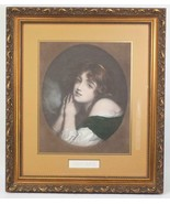 Vintage Framed Lithograph Print Young Woman Innocence Victorian Era Orna... - $321.74
