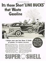 Vintage 1936 Magazine Ad Shell Oil Those Short Line Bucks That Waste Gasoline - $5.93