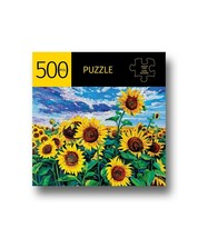"""Sunflower Field Jigsaw Puzzle 500 pc 28"""" x 20"""" Durable Fit Pieces Flowers Yellow image 1"""