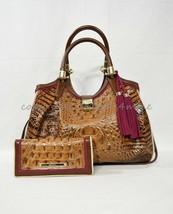SET Brahmin Elisa Satchel/Shoulder Bag in Toasted Almond Hayes + Ady Wallet - $529.00