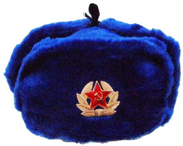 Authentic Russian Ushanka Blue Military Hat w/ Soviet Red Army Badge  - $25.69