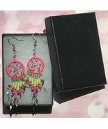 Earrings, Hot Pink Dream Catcher, Dangle, Native American, Fish hook ear... - $9.79