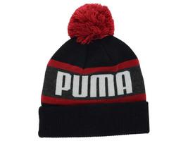 Puma Branded Wording Black & Red Cuffed Knit Pom Pom Winter Hat Beanie T... - $18.99