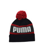 Puma Branded Wording Black & Red Cuffed Knit Pom Pom Winter Hat Beanie T... - $18.99