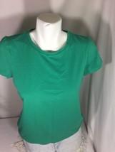 Liz Claiborne Women Green Short Sleeve Shirt Size M Solid Color Bin63#1 - $10.39