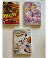 LOT of 3 NINTENDO WII GAMES ~ (Game Party, Nerf n Strike, All Star Cheer... - $8.03
