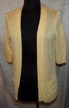 Chicos Yellow Cardigan Sweater 1 M 8 Linen Blend Womens Open Front - $35.76