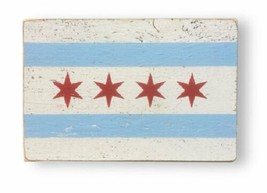 Rustic Wooden Sign - Item 5858 - Of The - 'Chicago Flag' - Approx 7 x 10... - $28.00