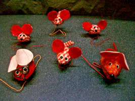 6 CURLY TAIL MOUSE CHRISTMAS ORNAMENTS MICE PACKAGE WREATH TREE CRAFT DE... - $6.00