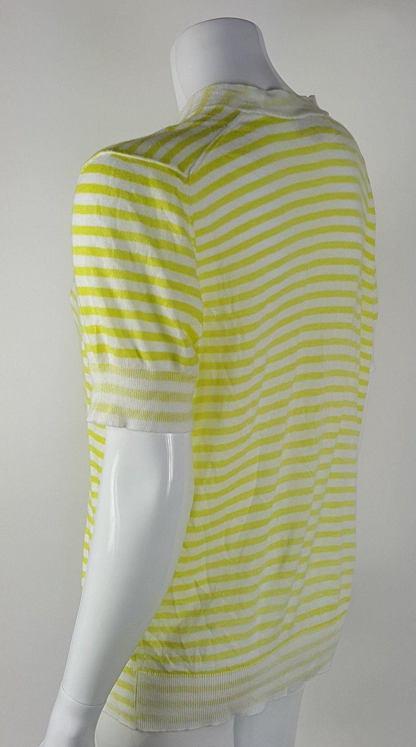 Ann Taylor Loft Women Size Large Yellow White Striped Button Up Cardigan Sweater