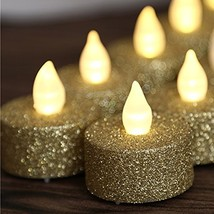 Battery Operated LED Tea Lights, Gold Flameless Votive Tealights Candle ... - $19.94