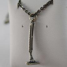 925 Silberne Halskette Brüniert Anhänger Rasierer Barbier Bart Made in Italy image 3
