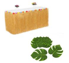 Brown Plastic Hawaiian Luau table Skirt + 12 Tropical Green Leaves Party... - $14.01