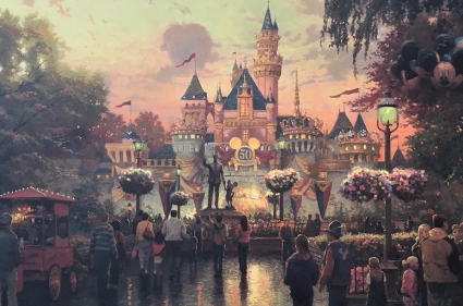 Thomas Kinkade Disneyland 50th Anniversary Examination Proof Canvas Print Nice!