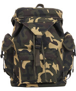 Woodland Camouflage Military Canvas Outdoorsman Rucksack Backpack - $24.99