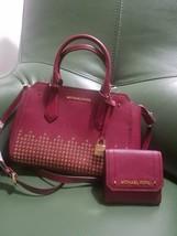 Michael Kors Hayes Burgundy Mulberry Studded Messenger Satchel Bag + Wal... - $146.78