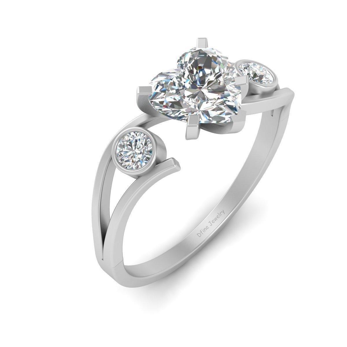 Heart Shape Diamond Ring For Women 3 Stone Promise Ring For Her Wedding Jewelry - $89.99