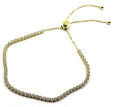 18K YELLOW GOLD TENNIS BRACELET CUBIC ZIRCONIA 2.5 MM ADJUSTABLE SLIDING CLOSURE image 1