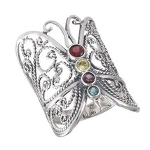 Large 925 Sterling Silver Butterfly Ring Band with Mixed CZ Size 7-10 - $29.99