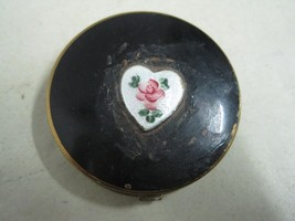 Antique small box in metal and enamel with a heart - $10.63