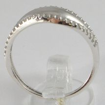White Gold Ring 750 18k, veretta with Cubic Zirconium, 3 files, Crimped image 3