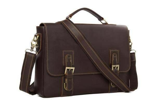 Sale, Vintage Leather Messenger Bag, Men's Leather Briefcase image 2