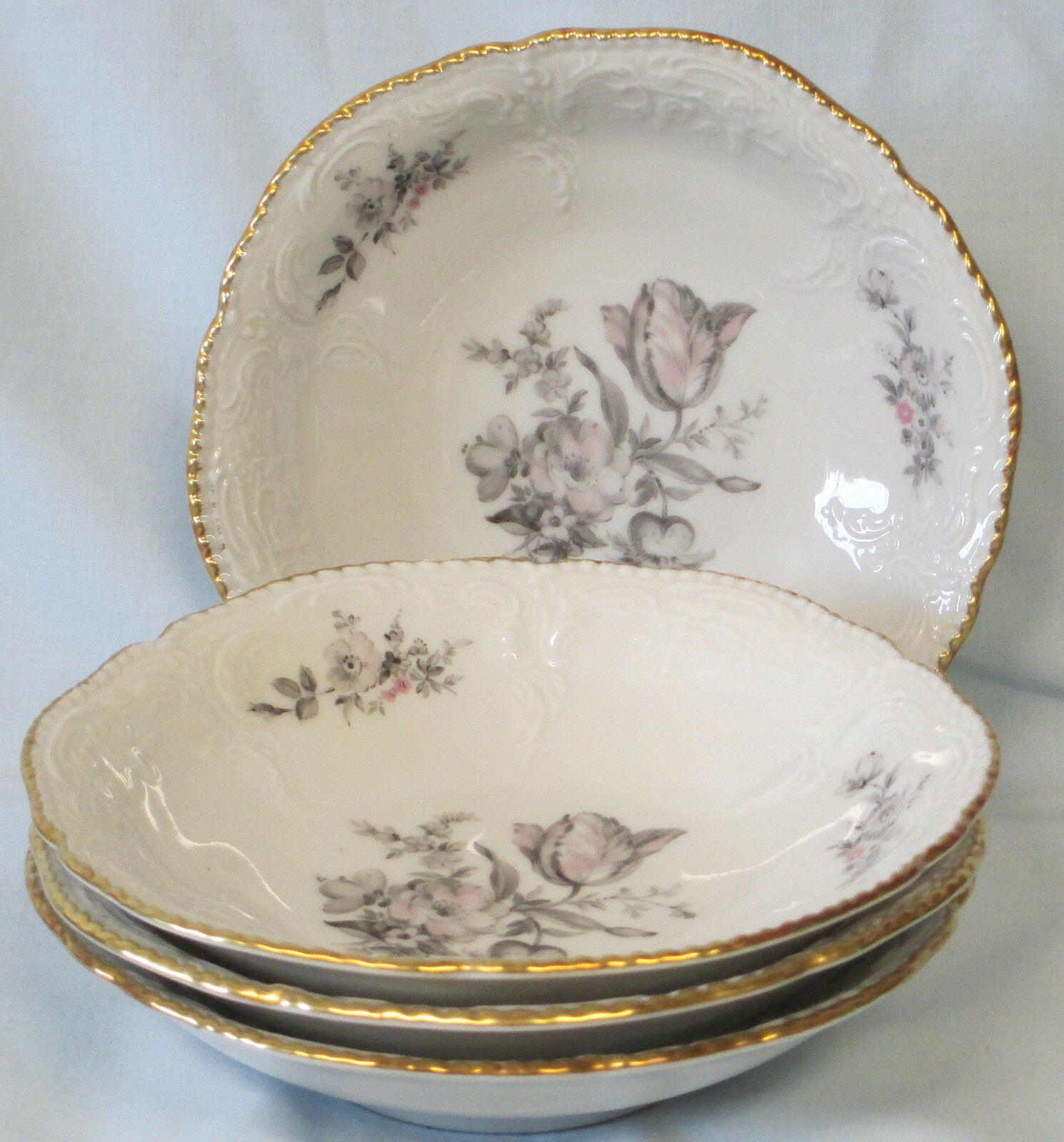 Primary image for Rosenthal Sanssouci Grey Rose Fruit or Dessert Bowl set of 4