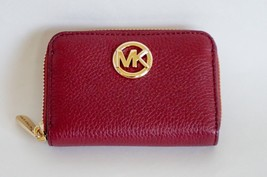 NWT Michael Kors Fulton Zip Around Coin Case Pebbled Leather Mulberry - $39.48