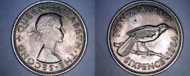 1964 New Zealand 6 Pence World Coin - Elizabeth II - $6.75