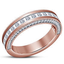 Princess Cut White CZ 14k Rose Gold Plated 925 Silver Women's Wedding Band Ring - $73.99