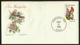 New Hampshire-Purple Lilac & Finch-Sngl, HF-Sealed Flap **ANY 4=FREE SHI... - $1.00
