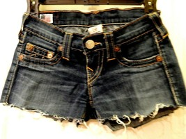 True Religion Women's Jean Shorts Size 23 Fray GUC Denium - $26.00