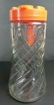 Anchor Hocking Glass TANG Pitcher Jar 1960s 1970s Kitchenware Orange Lid Retro - $19.83