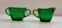 Vintage 50s Anchor Hocking Charm Forest Green Open Sugar and Creamer - $11.99