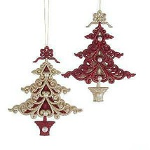 Set of 2 Ruby Red and Platinum Christmas Tree Ornaments w - $14.99