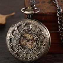 Vintage Bronze Hollow Mechanical Pocket Watch Men Skeleton Carving Steampunk Fob - $36.99 - $38.99
