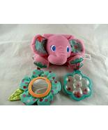 "Pink Elephant Crib Toy Bright Starts Baby Rattle Plush 10"" Infant Lovey - $7.12"