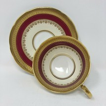 Aynsley England Windsor Teacup and Saucer Gold Red Bone China Intricate - $42.49