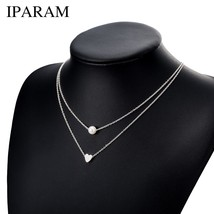 IPARAM Bohemia Simple fashion Imitation pearl love Heart Double layer Cl... - $9.55