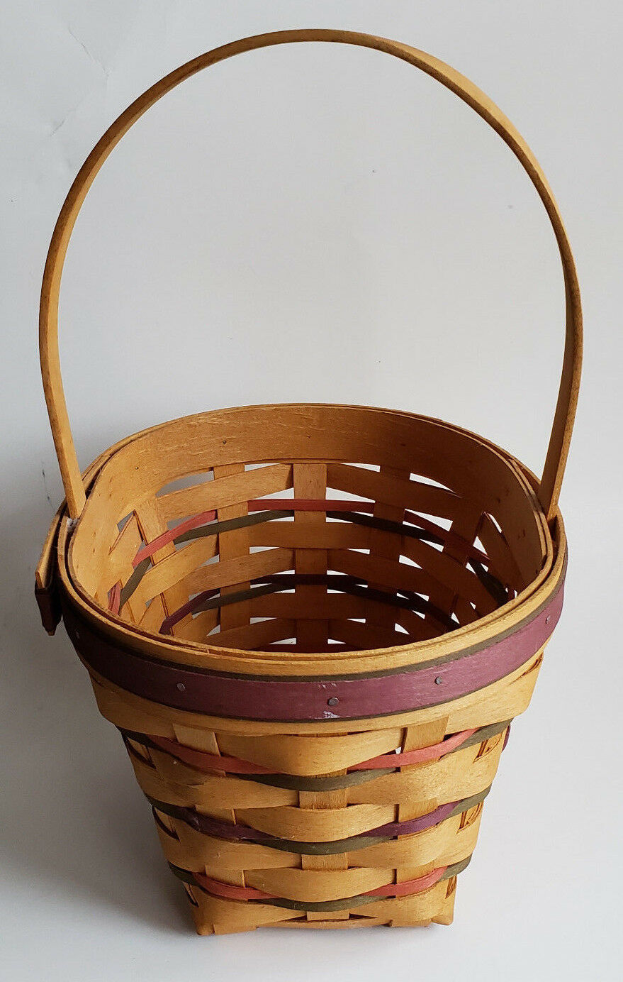 Longaberger Spring Easter Basket Oval Red Purple Green Weave Protector 1995