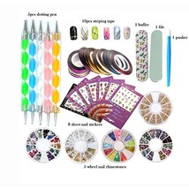 DIY Glitter Nail Rhinestones Decorations Dotting Tool Water Transfer Sti... - $9.96
