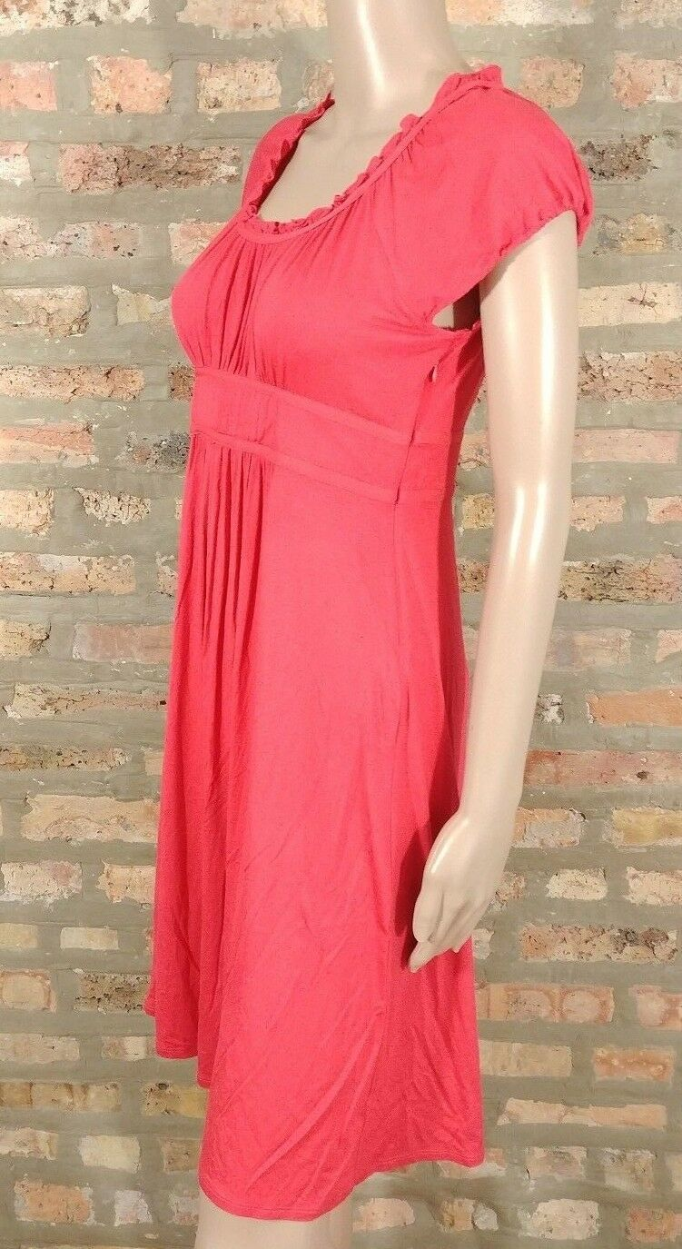 Ann Taylor LOFT Red Smocked Pintuck Ruffle Jersey Knit Peasant Shirt Dress 6P